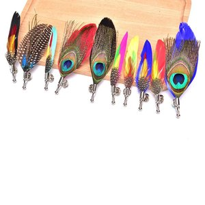 Feather Brooch Lapel Pin Fashion Designer Handmade Men Women Novelty Brooches Lapel Pins Dress Suit Accessory Gift 10 Styles