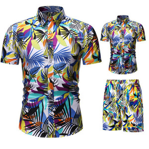 Mens Floral Beach Tracksuits Slim Short Sleeve Shirts and Drawstring Casual Shorts Summer Vaction Men Two Piece Outfit