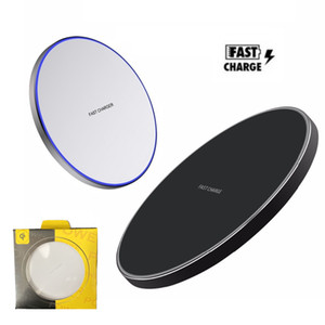 10W Fast Wireless Charger For iPhone 12 11 Pro Xs Max X Xr Qi LED Smooth Metal Wireless Charging Pad For Samsung with Retail Packaging Box