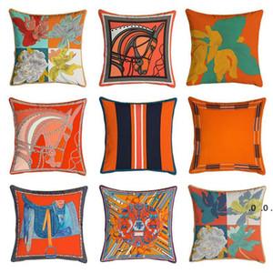 Arancione Serie Cuscino Copre Cavalli Fiori Stampa Pillow Case Cover per la sedia domestica Decorazione del divano Decorazione Square Pillowcases FWF5167
