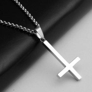 "Titanium Steel Inverted Cross Religion Pendant Necklace 23"" Beads Chain Jewelry"