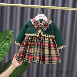 Baby girls Bows princess clothing sets kids lace embroidery falbala lapel plaid pleated dress+hollow crochet sweater cardigan 2pcs children clothes Q1146