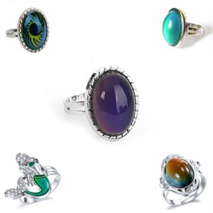 Change Mood Ring Round Emotion Feeling Changeable Ring Temperature Control Gems Color Changing Rings for Women
