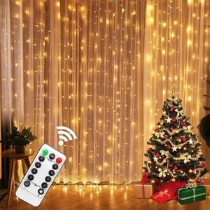 3M LED Fada Luzes Garland Curtain Lâmpada Controle Remoto USB String Luzes Garland na janela Decorações de Natal para casa