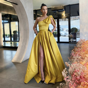 Daffodil Evening Dresses 2021 With Dubai Middle East High Split Formal Gowns Party Prom Dress One Shoulder Plus Size Vestidos De Festa