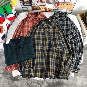 Gridded shirt men's long-sleeved shirt Korean version of the trend spring hong kong wind Japanese handsome 2021 new red loose