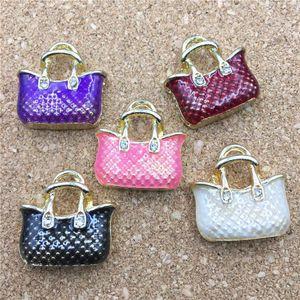 Tone 20*20MM Gold Oil Plated Drop 5Pcs Enamel Alloy Necklace Pendant Charms Fashion Women handbag Charm