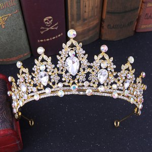 2021 new Vintage Baroque Bridal Tiaras Accessories Prom Headwear Stunning Sheer Crystals Wedding Tiaras And Crowns 1923