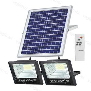 Solar Floodlights Double Heads 25W 40W 60W 100W 200W Yard Lamp IP66 6500K Auto With Pannel Outdoor For Garden Street Garage Park DHL
