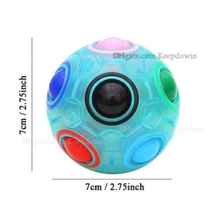 Rainbow Fidget Cubes Puzzle Ball Magic Rainbow Ball Puzzle Cube Fidget Light Up Ball Brain Teasers Games Toys for Kids Adults
