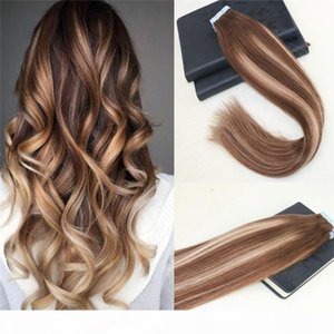 40 unids Remy Brasilian Hair Balayage # 4 Frading to # 27 Omber Piel Thitt Tape en extensiones de cabello humano Cinta recta en extensiones de cabello 100 g