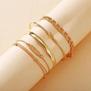 5 шт. / Набор Bohemia New Link Chain Charm Bracte Bracete Gold Color Multilayer Bracte для женщин Открыть браслет Творческие простоты Ювелирные изделия