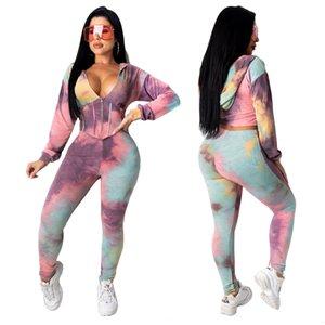 Moda donna Type Dye Tight Shaping Shaping Sleeve Zip Hoddie con pantaloni Casual Two Piece Set Donne Abbigliamento Abbigliamento