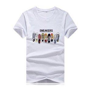 Новый дизайнер футболки летние мужские футболки высококачественные моды приливные туфли напечатанные мужчины футболки футболки Tee Tops Men T-рубашка несколько цветов