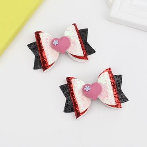"""Oaoleer 3 """" 2021 Glitter Hair Bows Clips Cute Heart Double Layer Bling Hairpins Barrettes for Baby Girls Sweet Hair Accessories"""