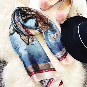 Продаем классическую моду весеннее лето шарф писем цветок шелковые шарфы вечный классический супер длинный шал мода женские мягкие шелковые шарфы