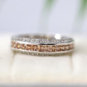 Champagne CZ Wedding Band Full Eternity CZ Match Ring 18k Gold Plated Ring Gift Bridal Vintage Gemstone Wedding