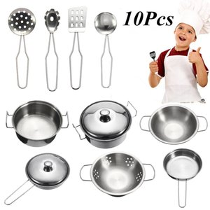 10Pcs Stainless Steel Kids Kitchen Toys Mini Cooking Cookware Children Pretend Toy Fun Play Tools Safe Exquisite Workmanship 210312
