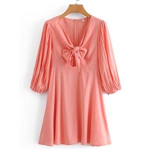 2021 весенние хлопковые и спандекс слоеные рукава V-образным вырезом розовый сплошной лук повседневный пуловер женское платье на колену