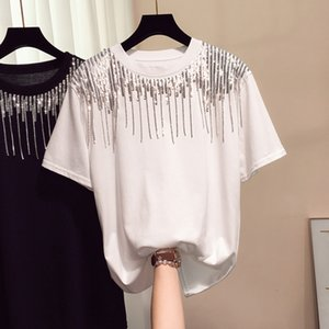 2021 Korean Women with Sequins t New Summer Short Sleeve Loose Tassel Streetwear White Tee Shirt Woman Casual Tops Clothing 5djk