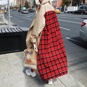 Women's Trench Coats Casual Plaid Patchwork Long Sleeve Lapel Outwear Duster Coat Cardigan