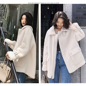 Lamb wool coat women's autumn winter 2020 new Korean loose medium and long fur one Plush thickening