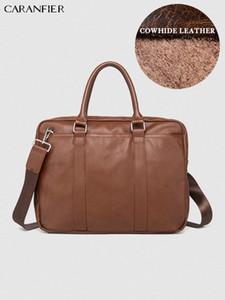 CARANFIER Mens Briefcase Simple Solid Ducument Bags Leather Business Laptop Computer Bag Crossbody Soft Handle Zipper Travel Bag E5UG#