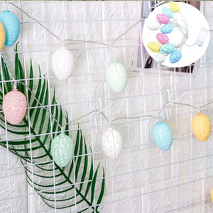 Cracked Pattern Eggshell String Lamp LED Hollow Bunny Easter Cute Egg Lights DIY Party Decoration Colorful Light Hanging No Battery 7cx G2