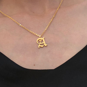 A-Z 26 English letter necklace Silver gold chains English initial pendant necklace for women fashion jewelry will and sandy gift