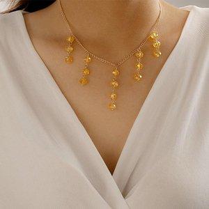 Bohemian Largo Amarillo Beads Tassel Colgante Collar Exquisito Femenino Femenino Fiesta Charm Gargantilla Accesorios Joyería de moda