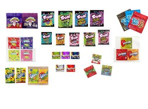 Empty Edibles Package Bags 600MG WARHEADS Trolli Trilli Gummi Candy Mylar Bag Sour Medicated Chewy Cubes