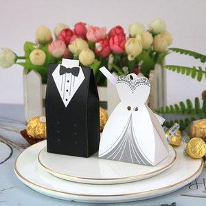 1000 قطعة / الوحدة النمط الأوروبي مربع الحلوى العروس والعريس مزدوجة الصدر البدلة الزفاف الحلوى مربع لوازم الزفاف