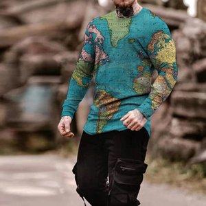 Mens Mens Mens 3D 3D Футболка для печати Визуальный удар вечеринка верхняя уличная одежда круглые шеи высокое качество длинные рукава дизайнер плюс размер печать ежедневных топов