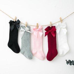 Baby filles Enfants enfants mignon genou haut chaussettes Bowknot Party School Bas Socks Filles Vêtements Coton Fashion Casual1