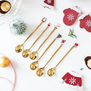 Creative Stainless Steel Christmas Spoon Christmas Gift Pendant Coffee Spoon Dessert Tea Scoop Kids Drinking Gift Spoon Tableware EWF10539