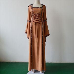 Cosplay Medieval Renaissance Retro Hooded Dress Halloween Costume Women Square Collar Vinatage Vestido Flared Sleeves Maxi Swing