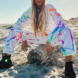 Women's Tracksuits Woman Tie Dye Lounge Sportwear Long Sleeve Outfits Tracksuit Fitness Two Piece Set Sweatshirts Hoodies Femme Pijama Mujer