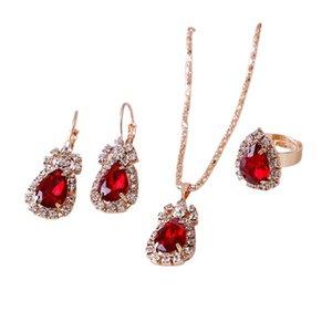 Европейский и американский изысканный овальный Gem Claw цепочка ювелирных изделий ювелирные изделия капля ожерелье серьги кольцо из трех частей наборы 178 q2