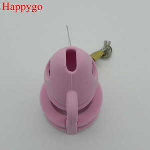 Hacko, Homme Rose Silicone Chastity Device Cages Bite avec 3 Penis Bague CB3000 Sexe adulte Jouets M800-PNK 21S