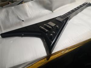 free shipping jack RR 6 strings guitar,black electric guitar,V shape body,HH pickups,black tone volume,black button
