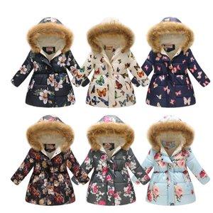 Kids Designer Clothes Floral Girls Fur Down Coats Long Toddler Girl Jacket Cotton Children Zipper Coat Winter Kids Outwear Clothing DW4672