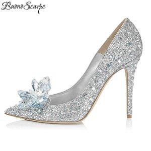Buono Scarpe Big Strass Strass Bling Bling High Heel Femmes Chaussures De Mariage Crystal Royal Elegant Milieu Mesdames Heels Pompes