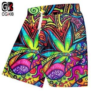 Ogkb casual shorts de vente chaude salles de sport 3D shorts décontractés imprimer peinture à l'huile feuilles drôles plus taille 5xl vêtements hommes