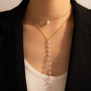 fashion sweet Girl temperament imitation pearl Long Chain Tassel Pendant Necklace clavicle chain Choker
