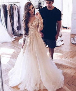 New Elegant 2021 Lace Gowns for Bride Long Sleeve Appliqued Soft Tulle Back Illusion Beach Wedding Boho Vestidos De Noiva 7686