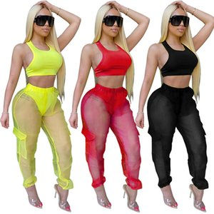 Sexy Women Two Piece Sets Sleeveless Vest Tops And Mesh Pants Perspective Women tracksuit Jogger Sport Womens Sweatpants Set Plus Size