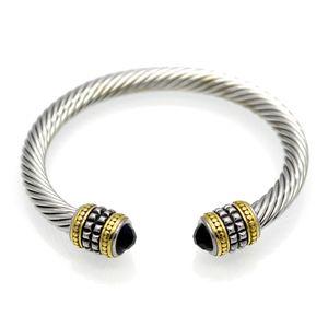 2021 men bracelet retro titanium steel jewelry twisted wire gold two color bracelet men stainless steel bracelet women diamond bracelets