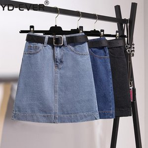 Skirts Size S-5XL Classic Blue With Belt High Waist Short Jeans Women Plus Black A-Line Denim Skirt