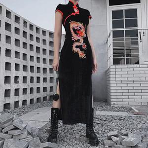 중국 스탠드 칼라 고딕 드레스 Emboridery Dragon Qipao 검은 빈티지 저녁 파티 Vestido Long Robe Cheongsam Black Sexy