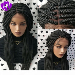 Fully Hand Braided Handmade Braid Wig Lace Front Wigs black brown blonde ombre color box braids with baby hair for africa women